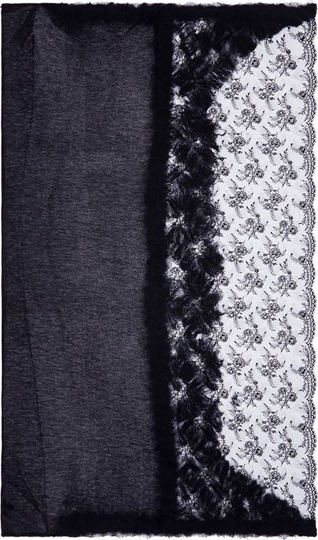 Franco Ferrari Brushed lace panel shimmer knit scarf
