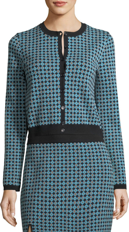 Alexa Chung Monogram Jacquard Button-Front Cardigan