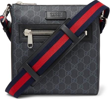 Gucci Leather-Trimmed Monogrammed Coated-Canvas Messenger Bag