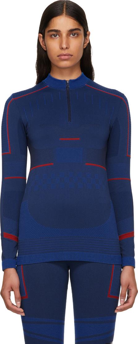 Adidas By Stella McCartney Blue Seamless Zip-Up Sweater
