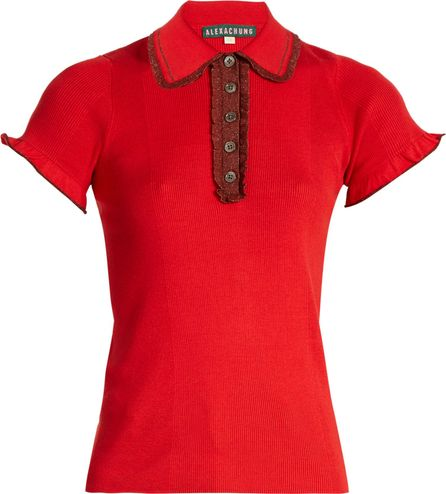 Alexachung Ruffle-trimmed ribbed-jersey top