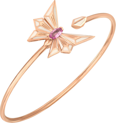Stephen Webster Fly by Deco Drive 18k Gold Pink Sapphire Flex Bangle