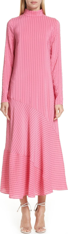 Ganni Seersucker Silk Blend Dress