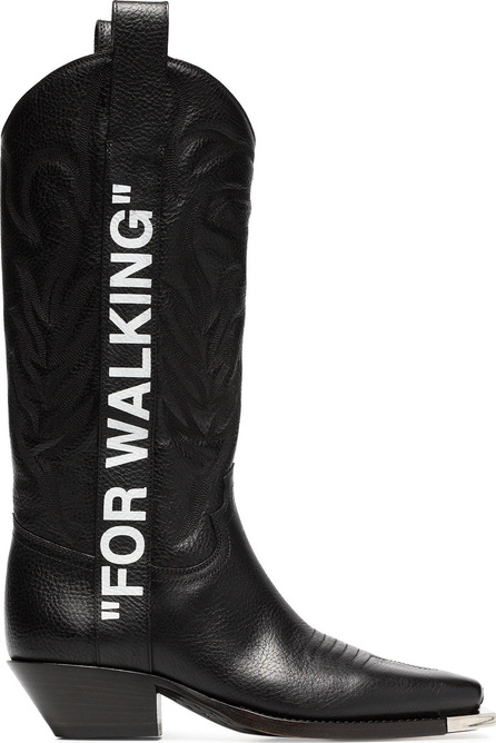 """Off White Black """"For Walking"""" 40 leather western boots"""