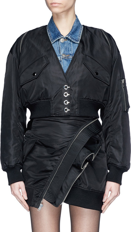 Alexander Wang Zip collar cropped twill bomber jacket