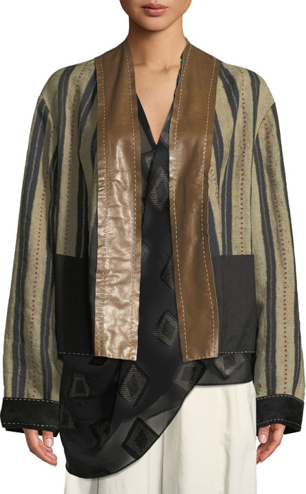 Urban Zen Reversible Striped-Linen Kimono Jacket with Leather and Suede Trim