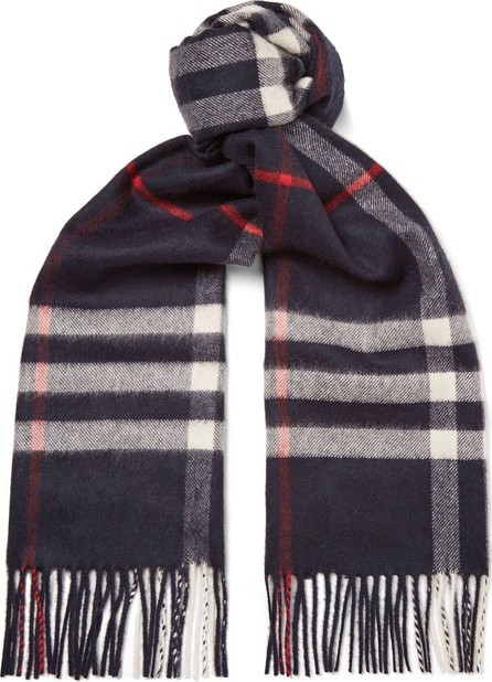 Burberry London England Fringed Checked Cashmere Scarf