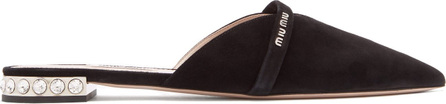 Miu Miu Crystal-embellished backless suede loafers