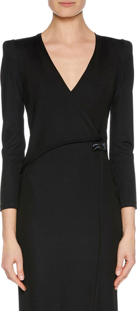 Giorgio Armani V-Neck Faux-Wrap Jersey Dress w/ Strong Shoulders