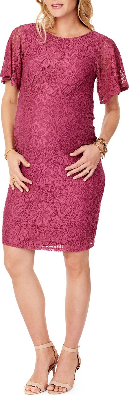 Ingrid & Isabel Maternity Flutter-Sleeve Lace Cocktail Dress