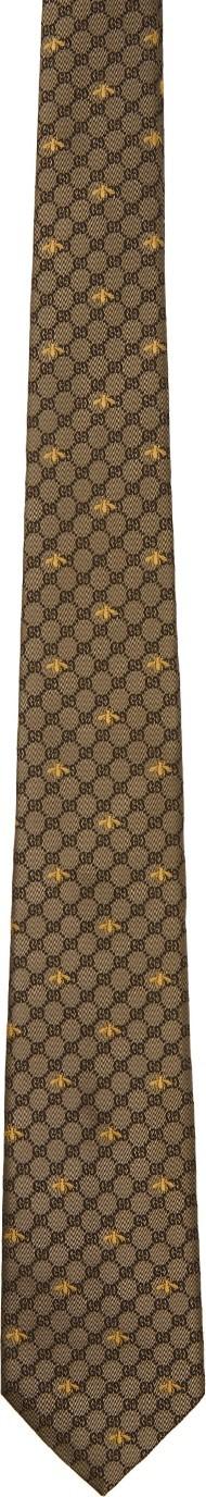 Gucci Beige Silk GG Bees Tie