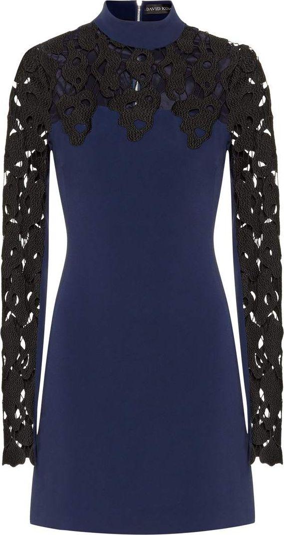 David Koma - Lace and crêpe dress