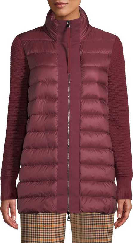 Moncler Maglione Quilted Long Tricot Cardigan Jacket