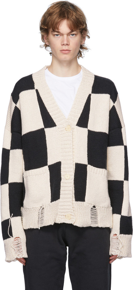 RHUDE Black & White Check Hand-Knit Sweater