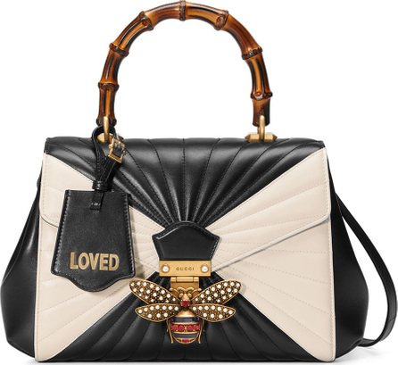 Gucci Queen Margaret Medium Quilted Leather Top-Handle Bag, Black/White