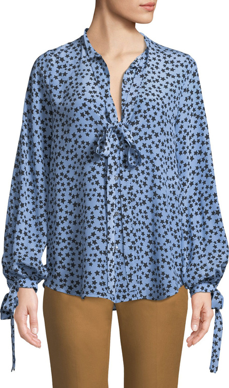 Nº21 Star-Print Tie-Neck Silk Button-Front Shirt