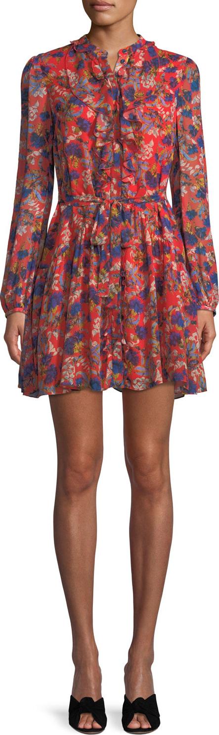 Saloni - Tilly Long-Sleeve Floral Silk Mini Dress