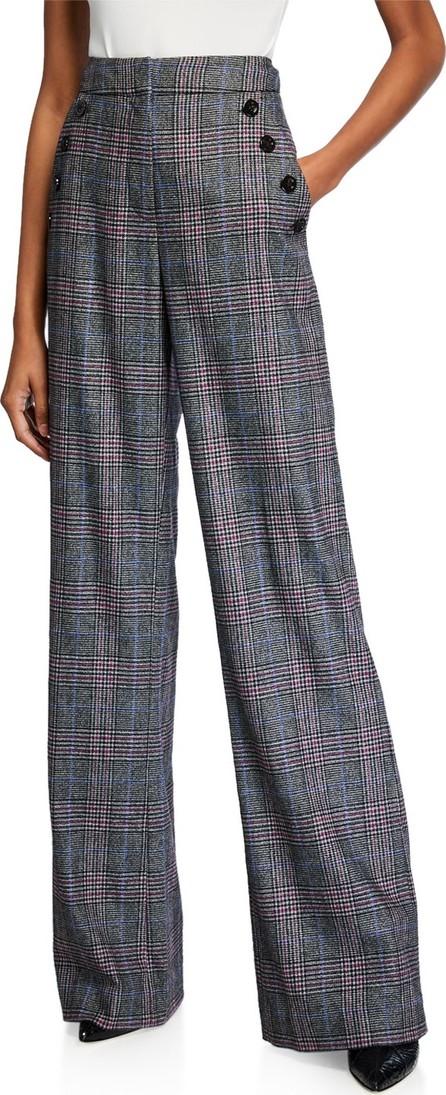 Veronica Beard Tuli High-Rise Check Straight-Leg Pants