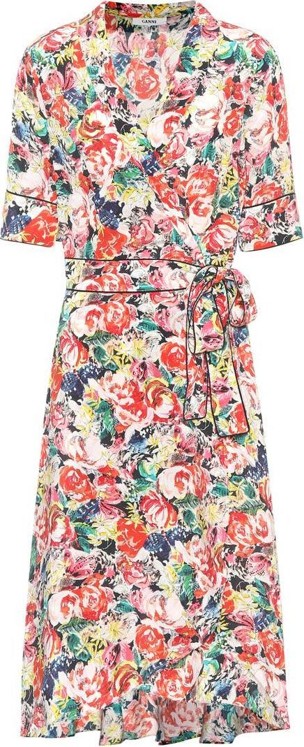 Ganni Maple silk wrap dress