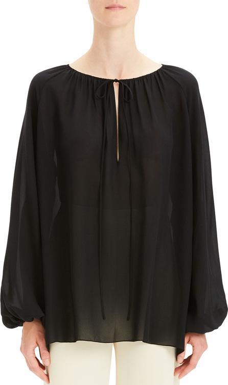 Theory Gathered Silk Long-Sleeve Keyhole Top