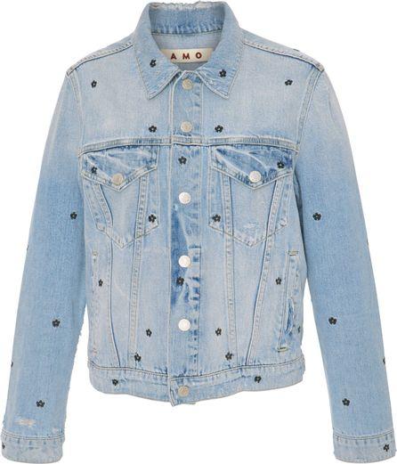AMO Floral Embroidered Denim Jacket