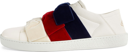 Gucci New Ace Low-Top Sneaker with Velvet Bows
