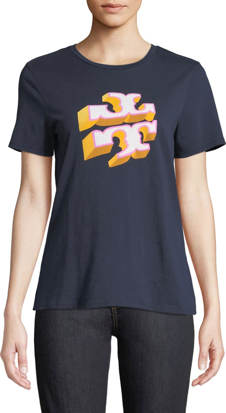 Tory Burch Shadow-Block Logo Crewneck Short-Sleeve Cotton Tee