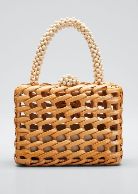 Aranaz Luna Woven Clutch Bag