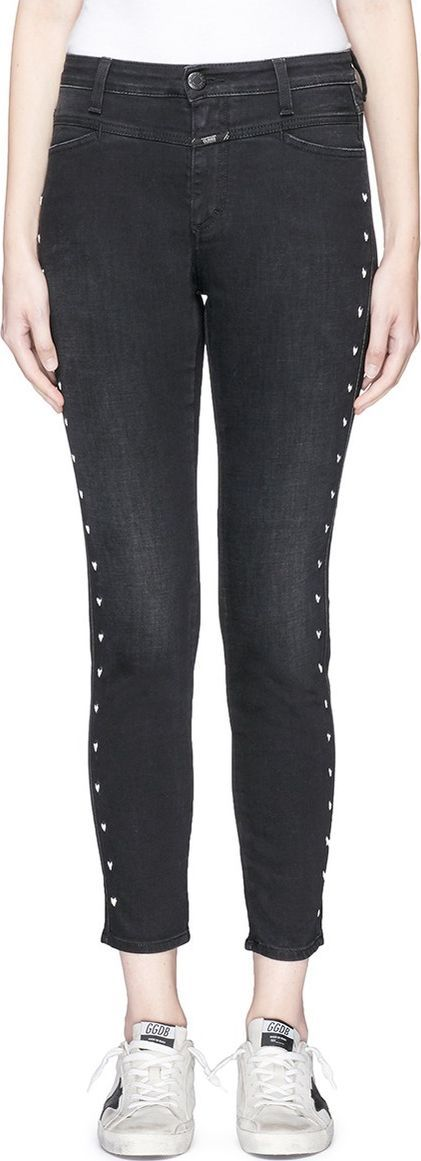 Closed x Jupe by Jackie 'X-Pocket' embroidered cropped denim pants