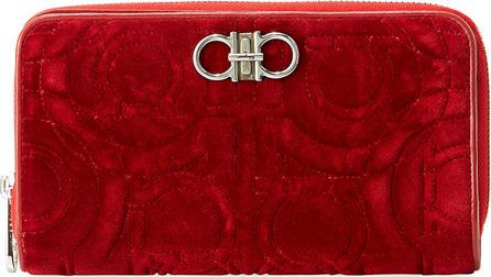 Salvatore Ferragamo Gancio Quilting Velvet Wallet on a Chain