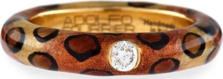 Adolfo Courrier Cheetah-Print Enamel Ring with One Diamond, Size 6.75