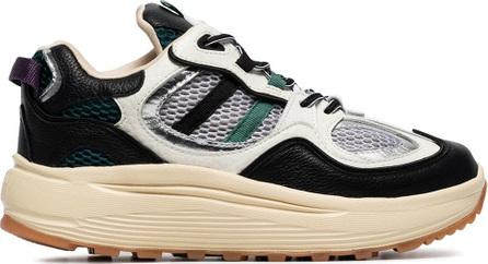 Eytys White, black and green turbo suede and mesh sneakers