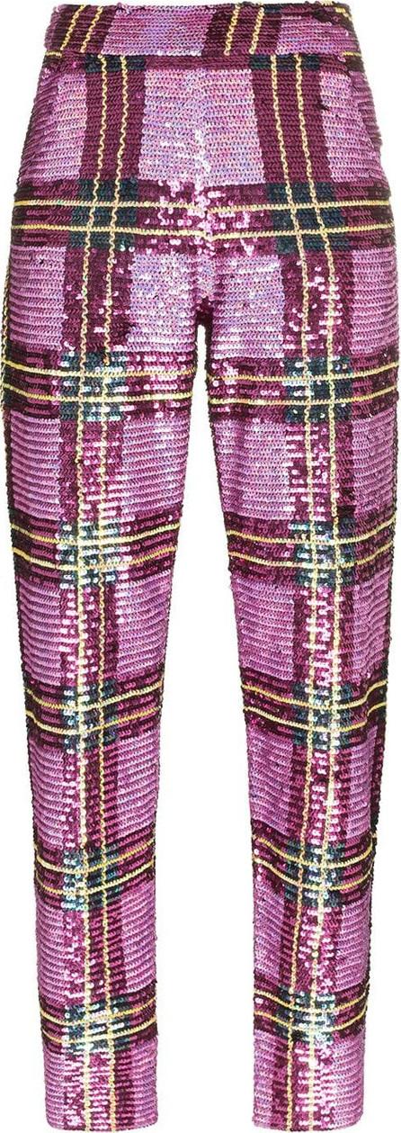 ASHISH Mid rise sequin tartan trousers