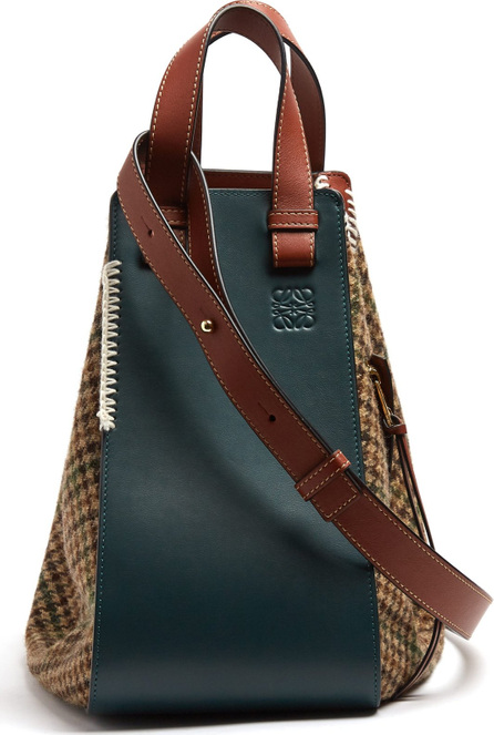 LOEWE Hammock houndstooth and leather tote