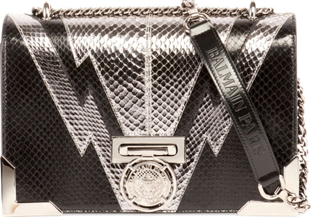 Balmain Box 25 Snakeskin Flap Shoulder Bag