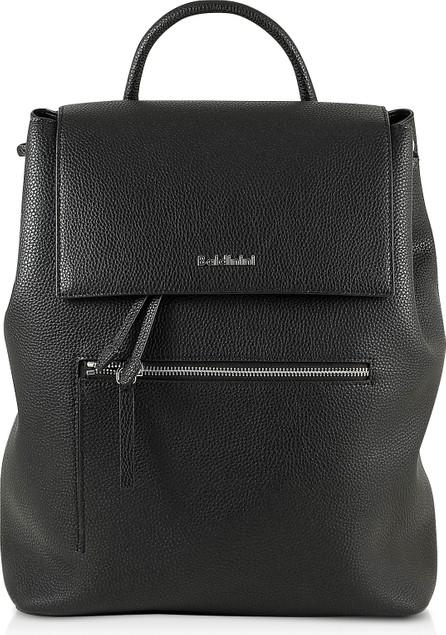 Baldinini Black Eco-Leather Backpack w/Front Zip Pocket