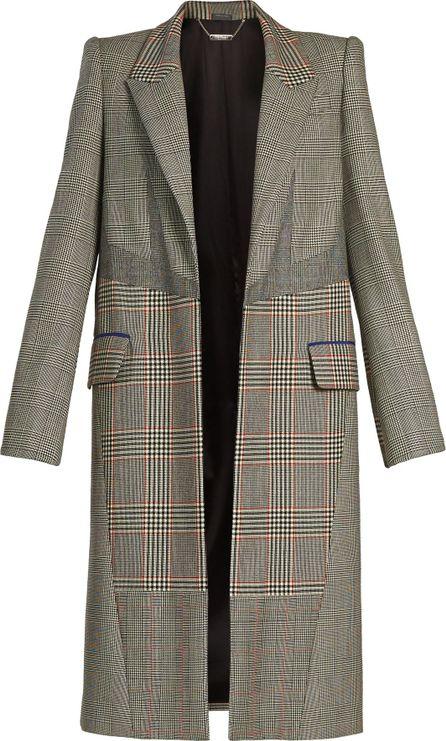 Alexander McQueen Patchwork-checked padded-shoulder coat