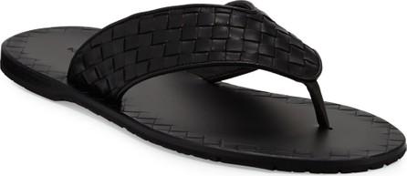 Bottega Veneta Woven Leather Flip-Flop Sandal, Black