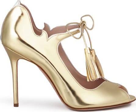 Aperlai 'Clarisse' wave cutout tasselled mirror leather sandals