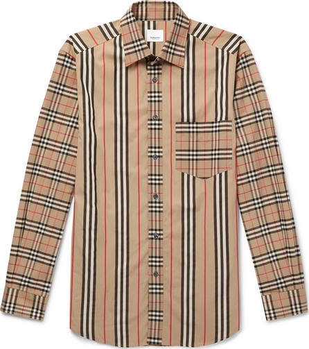 Burberry London England Checked Striped Cotton-Poplin Shirt