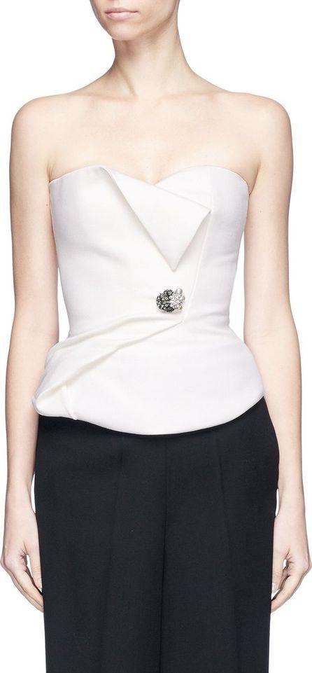 Lanvin Jewelled brooch mock wrap strapless bustier top