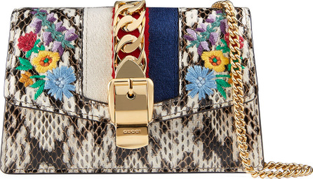 Gucci Sylvie Super Mini Floral-Print Snake Wallet on a Chain