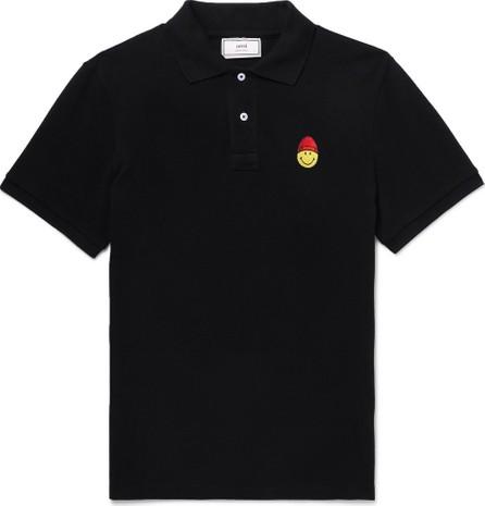 AMI + The Smiley Company Logo-Appliquéd Cotton-Pique Polo Shirt