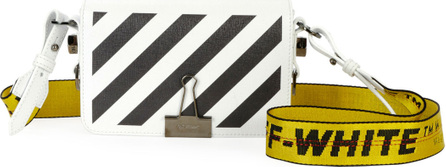 Off White Mini Striped Saffiano Leather Flap Crossbody Bag with Binder Clip