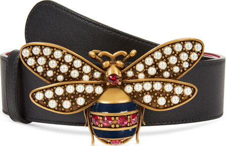 Gucci Queen Margaret Leather Bee Belt