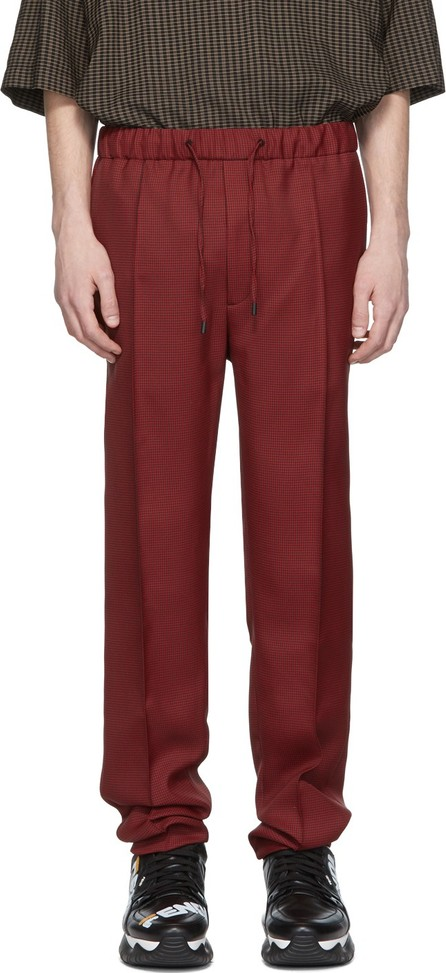 Fendi Red & Black Micro Houndstooth Trousers