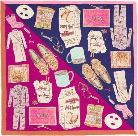 Cjw Illustration print giant wool scarf