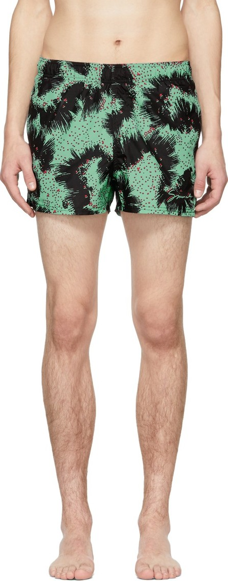 Givenchy Black & Green Printed Swim Shorts