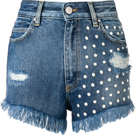 Don't Cry Pearl embellished denim shorts