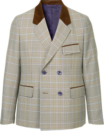 A(Lefrude)E Checked double breasted blazer
